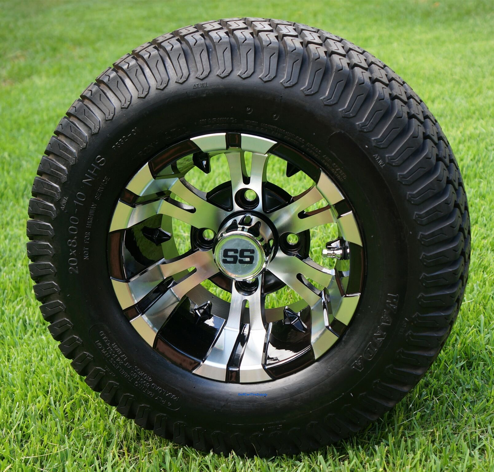 10'' VAMPIRE Machined/Black Golf Cart Wheels and 20x8-10 TURF Golf Cart Tires - Set of 4