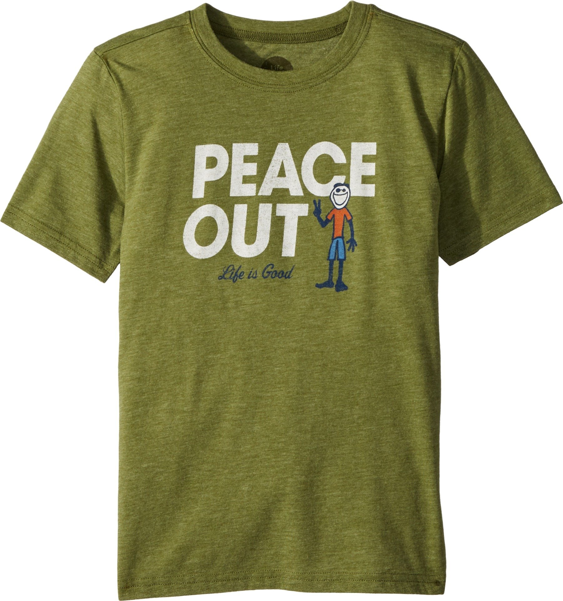 Life is Good Boy's Cool tee Peace Out Jake, Tree Green, Large