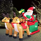 Fashionlite 8ft Christmas Inflatable Santa Claus on Sleigh with Two Reindeer & Gift Box Airblown Yard Decorations, LED…