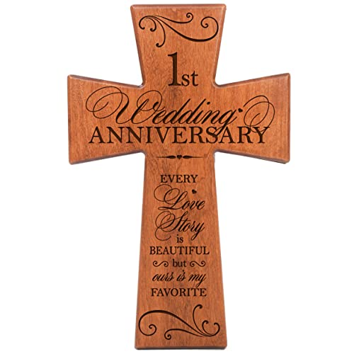 LifeSong Milestones 1st Wedding Anniversary Cherry Wood Wall Cross Gift for Couple,1st for Her,1st Wedding for Him Every Love Story is Beautiful but Ours is My Favorite 62864