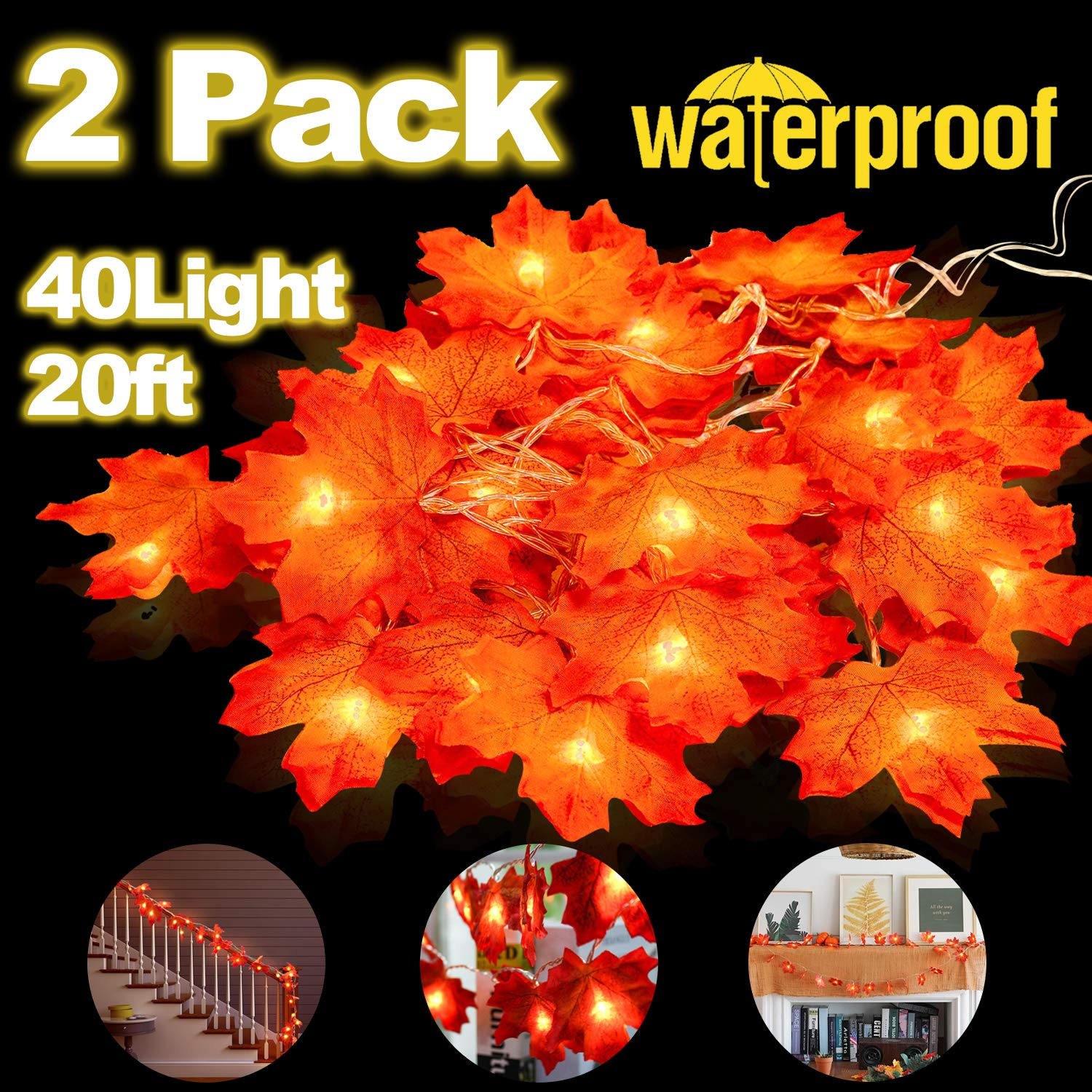2 Pack Thanksgiving Decor Maple Leaves Garland String Lights,Total 20Ft /40 LED Lights Waterproof Fall Decoration Seasonal Lights for Halloween Party Christmas Indoor Outdoor Gift 3AA Battery Powered