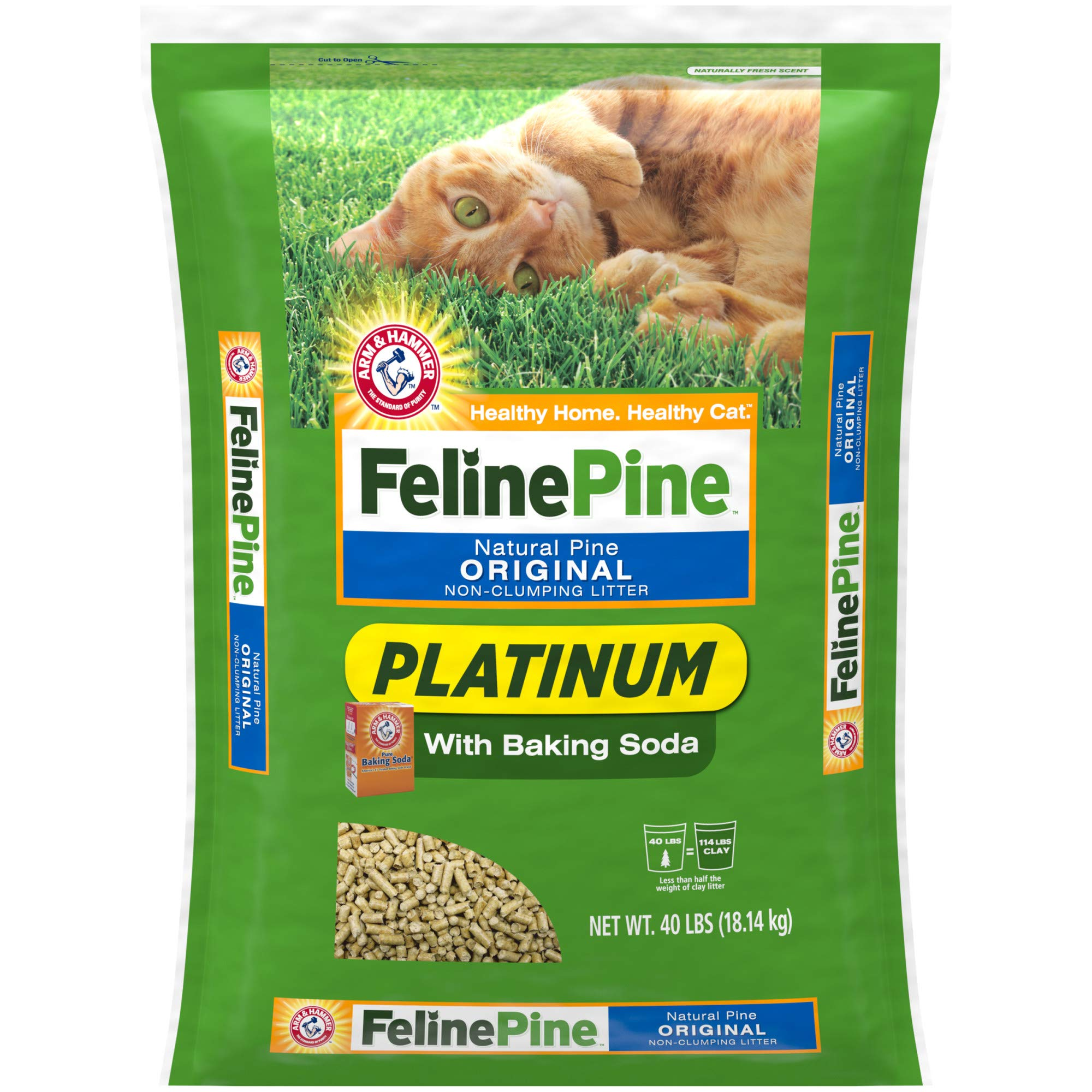 Feline Pine Platinum Natural Pine Original Non-Clumping Cat Litter, with Baking Soda, 40 lb by Feline Pine
