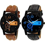 Matrix Black Dial & Leather Strap Analog Watch for Men/Boys- Combo (Pack of 2) (PR-170-192)