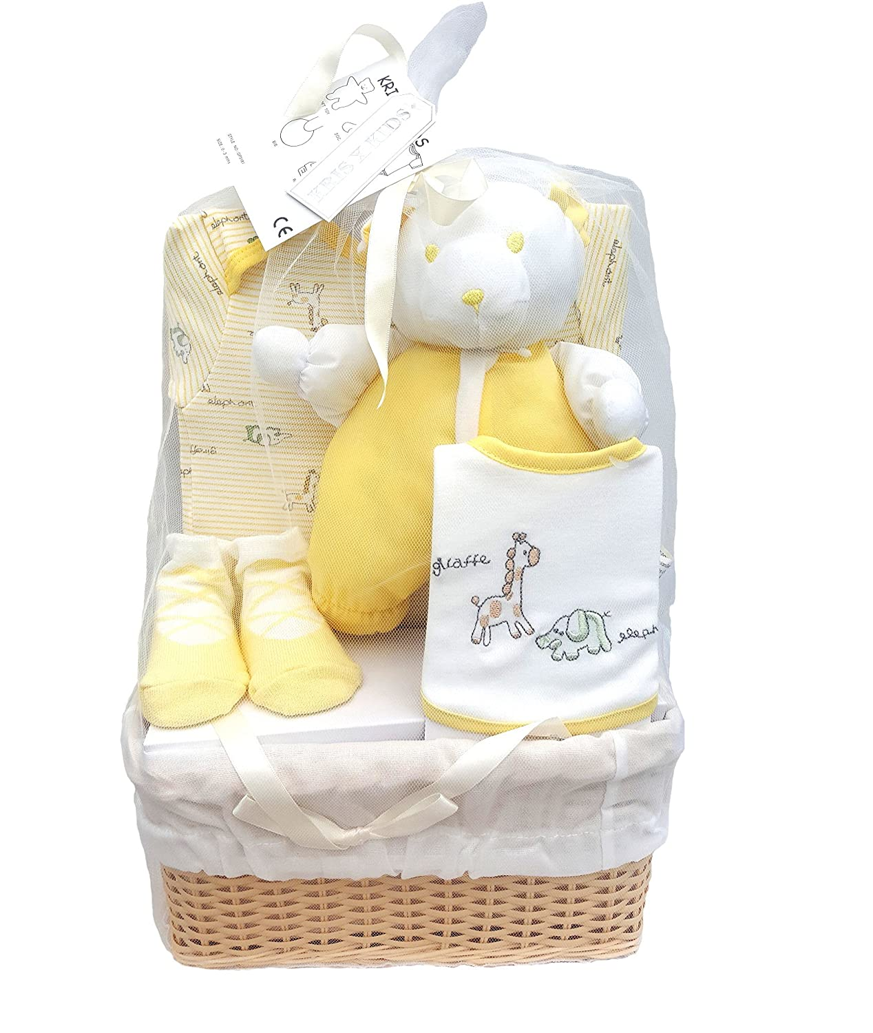 Bee Bo Baby Gift Set with Bodysuit, Bib, Socks and Teddy Bear in a Rattan Basket. 0 - 3 Months. Available in Blue, Pink, Cream, Lemon or White. BabyCenter