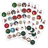 100 Weihnachtsaufkleber Weihnachtssticker XMAS mit verschiedenen Motiven rund Ø 30 mm, auf DIN A5 Bogen (5 x 20 Aufkleber), Haftpapier glänzend, Weihnachtetiketten