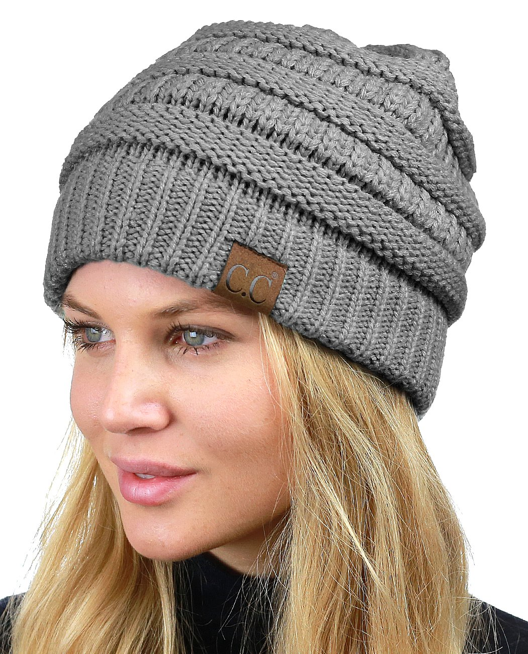 C.C Unisex Chunky Soft Stretch Cable Knit Warm Fuzzy Lined Skully Beanie, Light Melange Gray by C.C