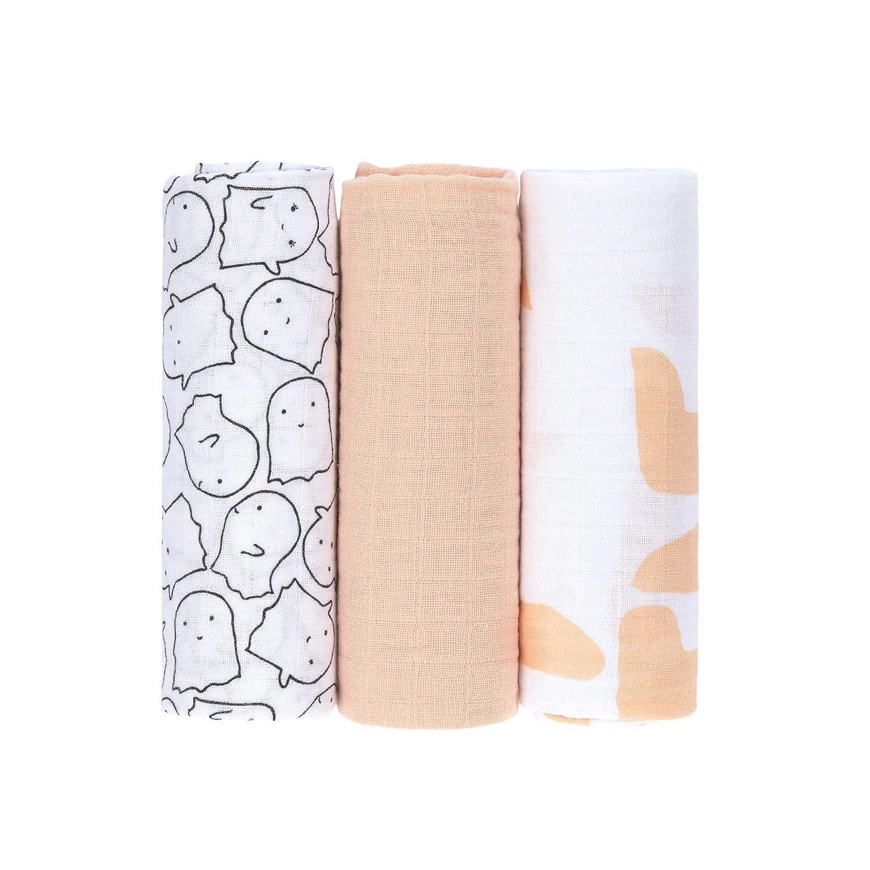Little Spookies Peach Large Lassig Swaddle /& Burp Blanket