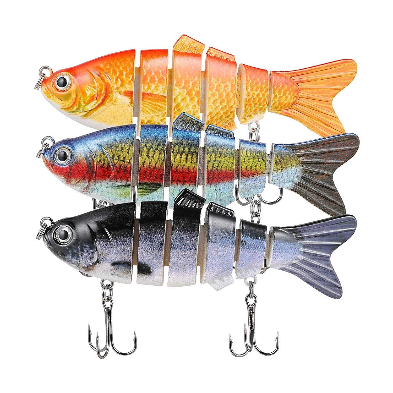 TRUSCEND Fishing Lures Swimbait Bass, 10cm 3.93'' Fishing Lures Crankbait Jointed Trout Swimbait Mustad Hooks (Combo B)