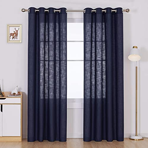 Deconovo Faux Linen Window Drapes Linen Look Panels Solid Grommet Curtains for Living Room Semi Sheer Curtain Navy Blue 52×84 Inch 2 Panels