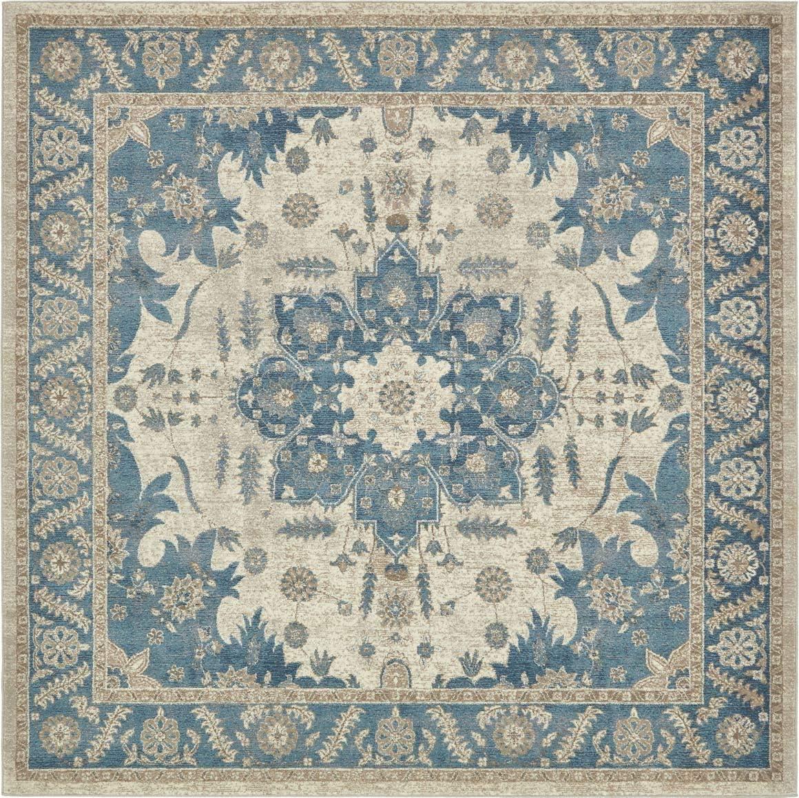 Unique Loom Salzburg Collection Traditional Oriental Cream Square Rug 8 0 x 8 0