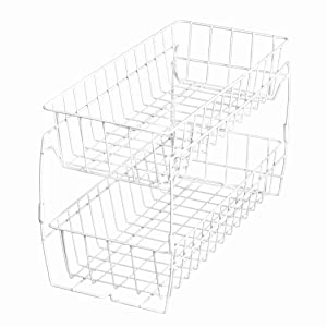 Smart Design 2-Tier Stackable Pull Out Baskets - Sturdy Wire Frame Design - Rust Resistant Vinyl Coat - for Pantries, Countertops, Bathroom - Kitchen (18 x 11.75 Inch) [White]