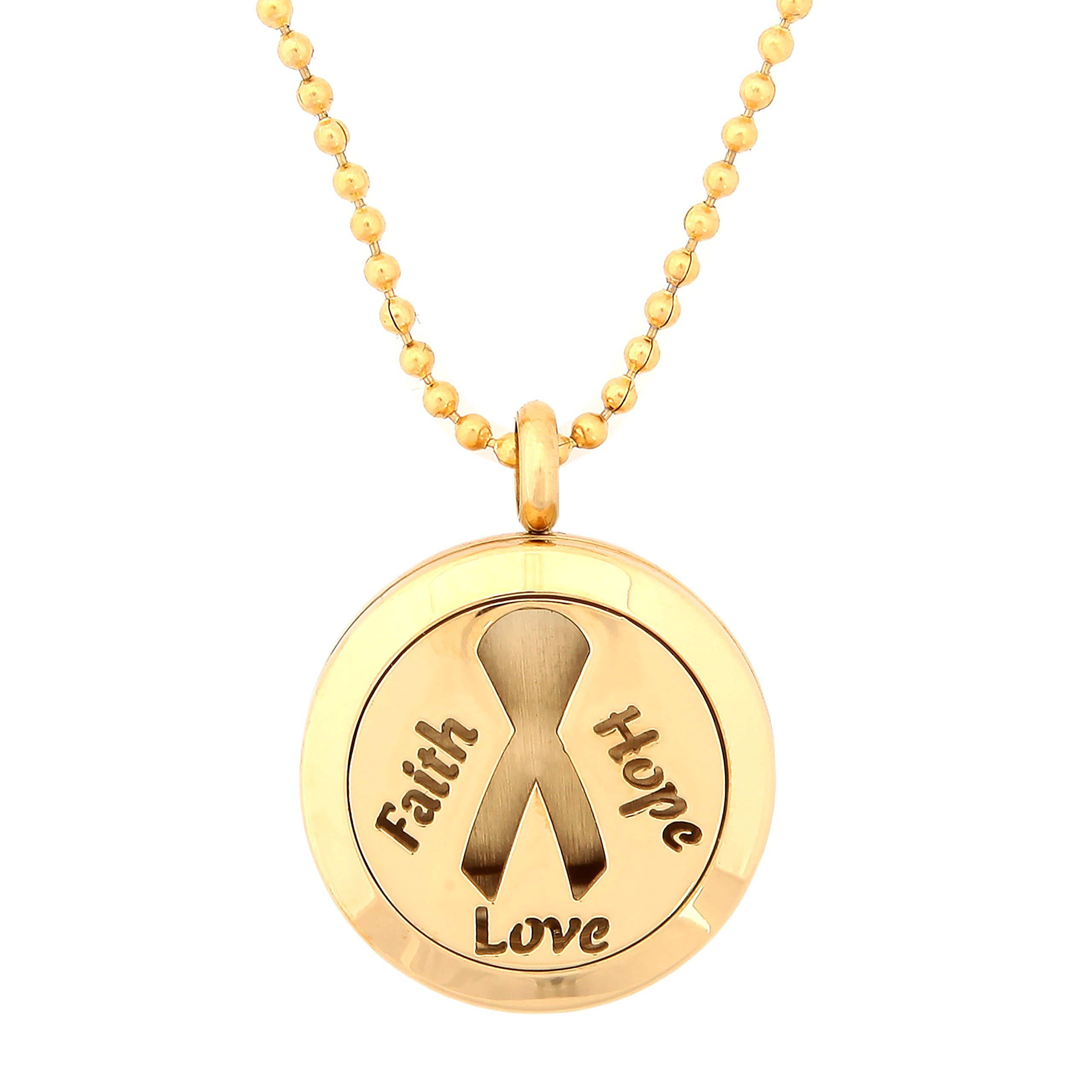Gold Cancer Awareness Ribbon Faith Hope Love Aromatherapy Essential Oil Diffuser Locket Pendant Jewelry Gift Set with 20'' & 24'' Chains and Multi-Colored Oil Pads (Gold)