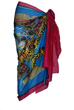 48ba6e53c99d7 Fuschia & Turquoise Cotton Sarong with Large Butterfly Design ...