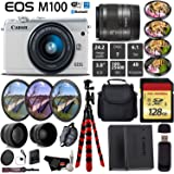 Canon EOS M100 Mirrorless Digital Camera (White) with 15-45mm Lens + UV FLD CPL Filter Kit + 4 PC Macro Kit + Wide Angle & Telephoto Lens + Camera Case + Tripod + Card Reader - International Version