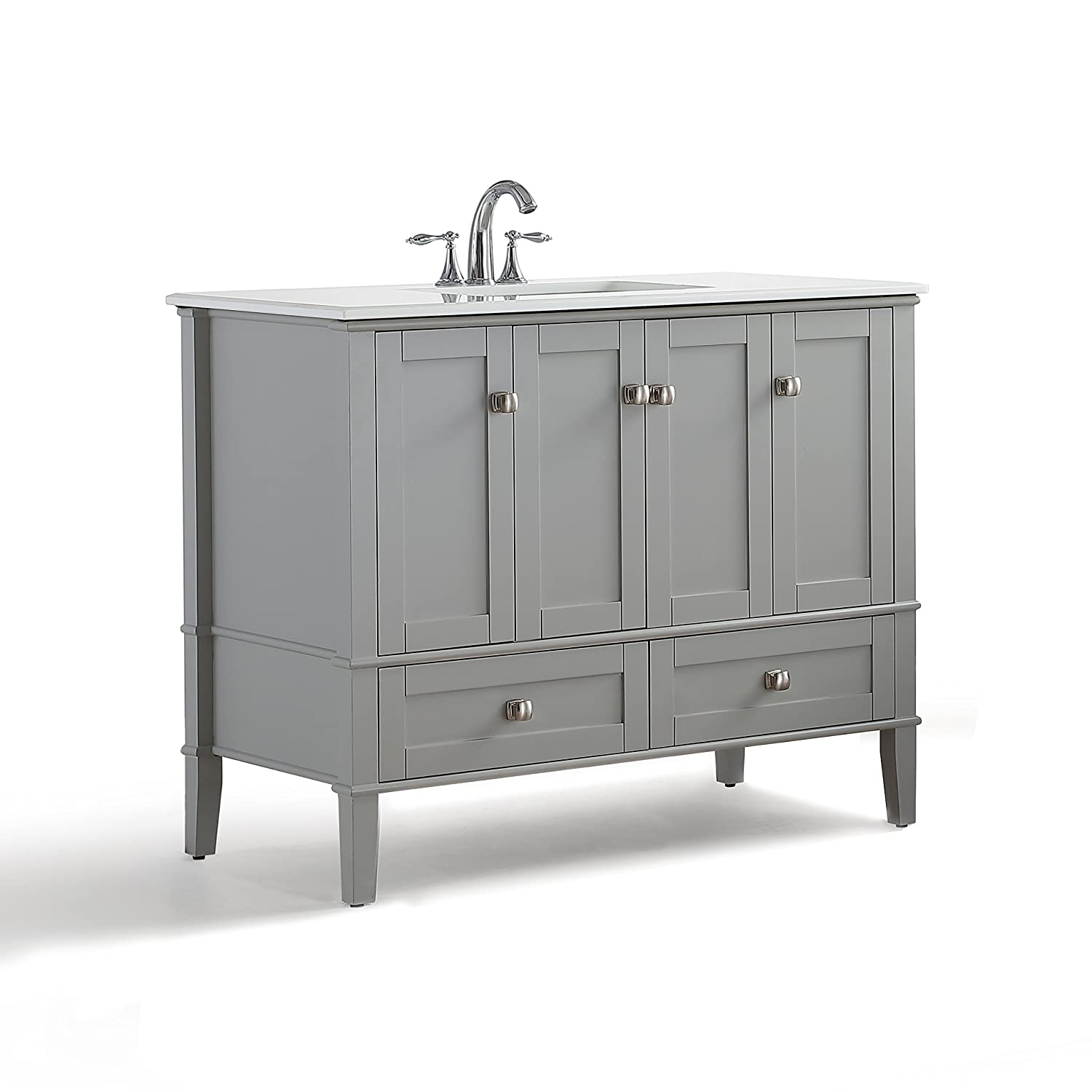 Attrayant Simpli Home Chelsea 42 Inch Bath Vanity With White Quartz Marble Top, Grey      Amazon.com