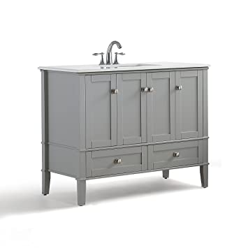 Simpli Home Chelsea Inch Bath Vanity With White Quartz Marble Top - 42 gray bathroom vanity