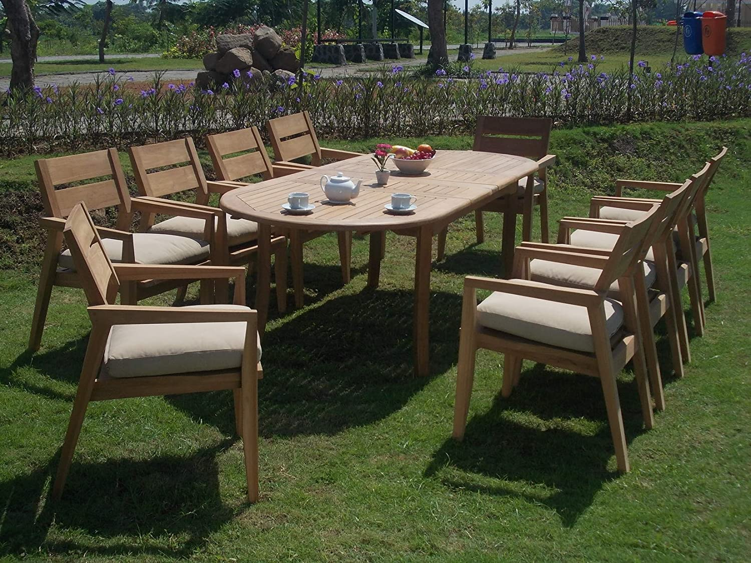 "11 PC A Grade Outdoor Patio Teak Dining Furniture Set - 117"" Double Extension Oval Table & 10 Vellore Stacking Arm Chairs"