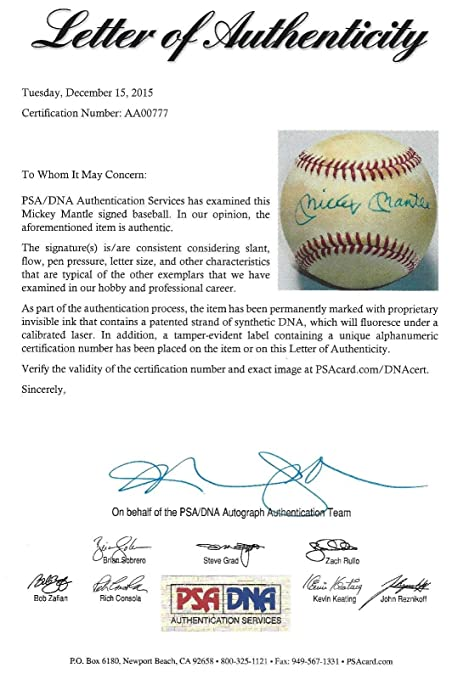 Mickey Mantle Signed Bobby Brown American League Baseball - PSA/DNA Certified at Amazons Sports Collectibles Store