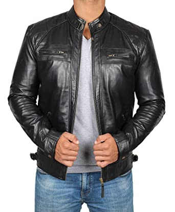 3e914f5833d Brown Leather Jacket Men - Biker Style Distressed Lambskin Black ...