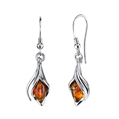 bc0fb73b7 Image Unavailable. Image not available for. Color: Sterling Silver Baltic  Amber Drop Dangle Calla Lily Flower Earrings ...