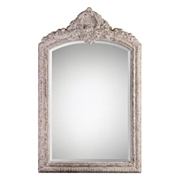 0d956536bb038 Extra Large Ornate Ivory Arch Wall Mirror