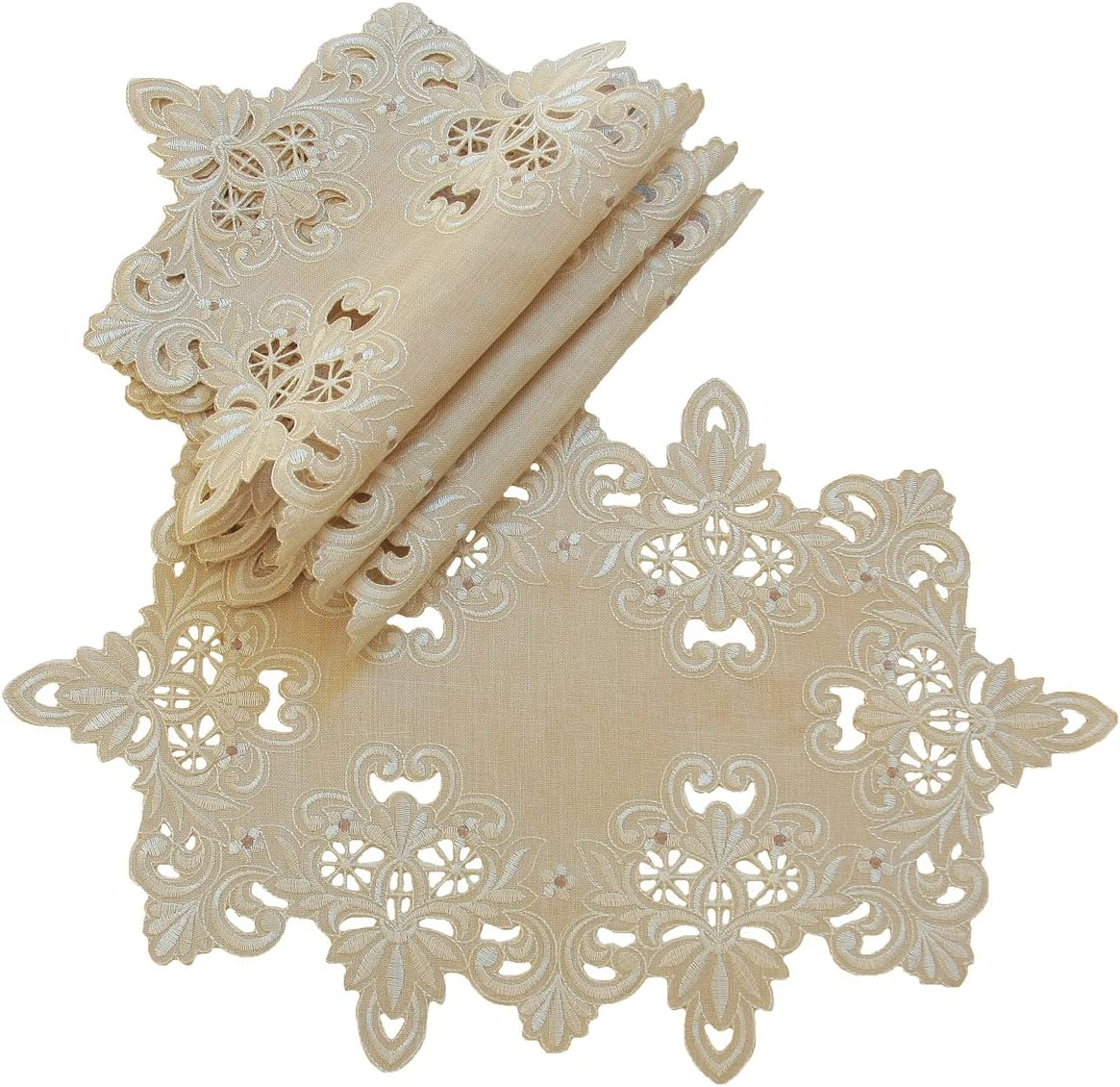 Xia Home Fashions Victorian Lace Embroidered Cutwork Placemat, 12 by 18-Inch, Taupe, Set of 4