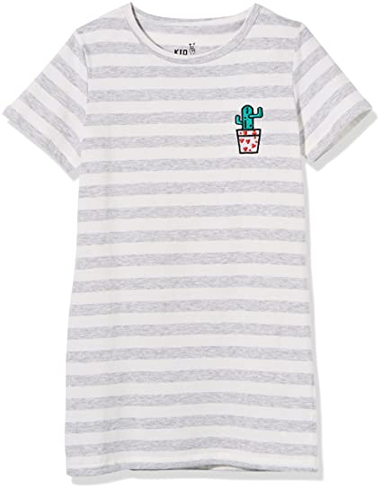 4b94dedaf0 Kid Nation Girls' Cotton Crew-Neck Short-Sleeve Stripe Jersey Long T-Shirt