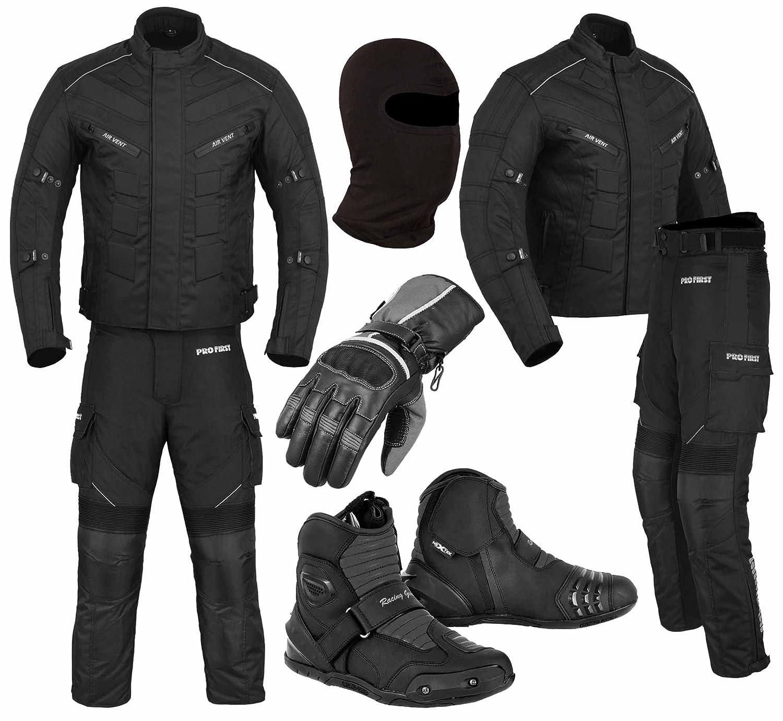 Grey - M Jacke+Hose+Lange Stiefel+Handschuhe+Sturmhaube PROFIRST EIN voller Satz von wasserdicht Motorrad Motorrad Moped 2 Stuck Anzug in Cordura Stoff und CE-Zertifiziert Rustung