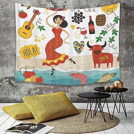 Tapestry,Hippie Tapiz,tapiz de pared con decoración para el hogar,España, España Lugares emblemáticos y símbolos Flamenco Barcelona Españo,para picnic Mantel o Toalla de Playa redonda 150 x 200 cm: Amazon.es: Hogar