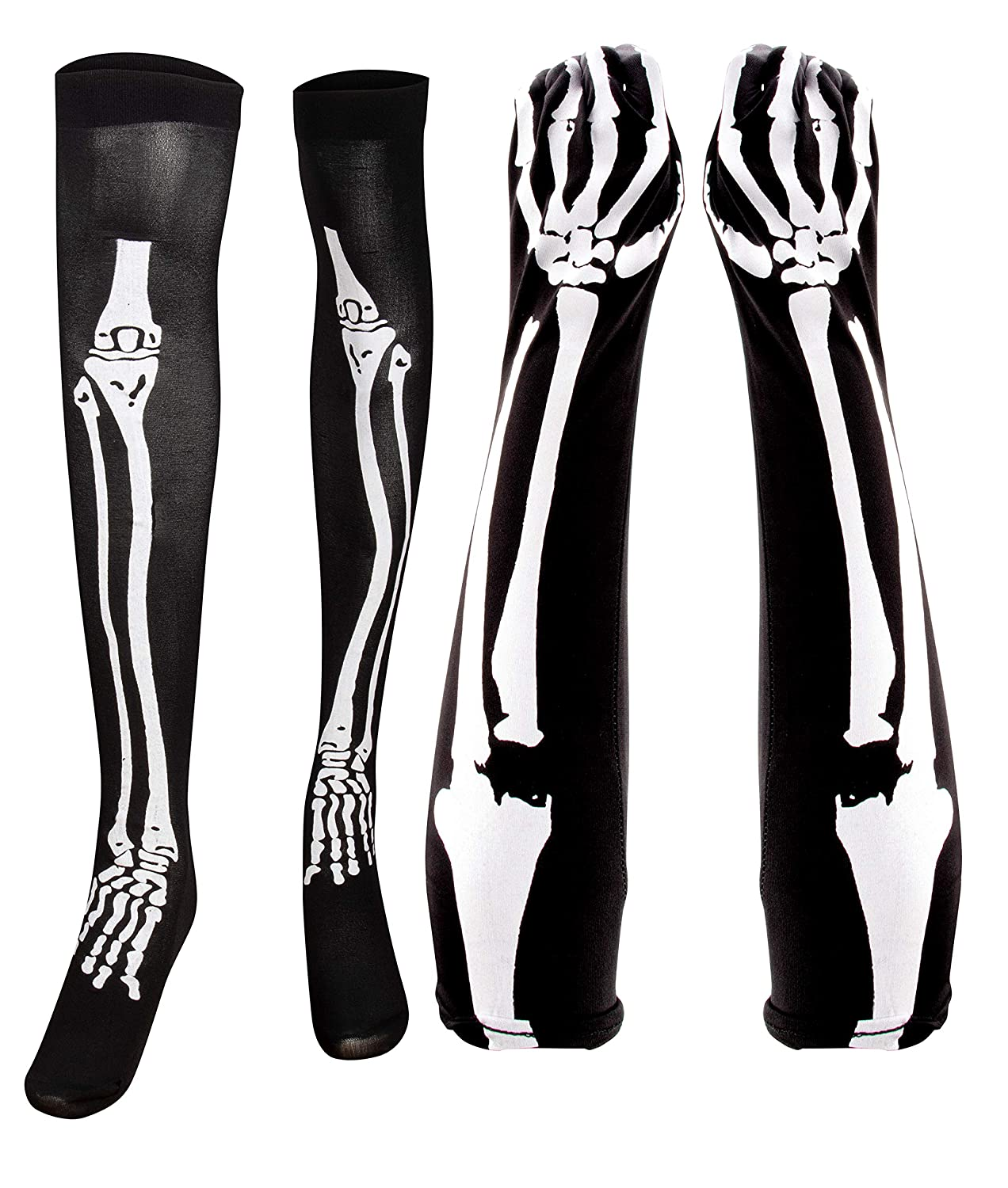 Blue Panda Halloween Skeleton Stocking Long Arm Gloves - Costume Cosplay Accessory Women, Teens Juvale