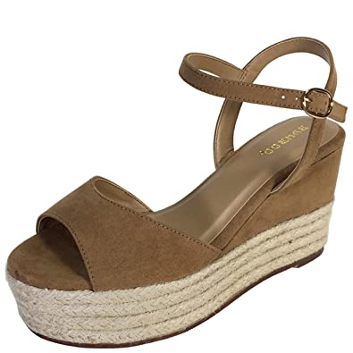 d2e9670d3c0 BAMBOO Women's Espadrille Wedge Sandal with Quarter Strap