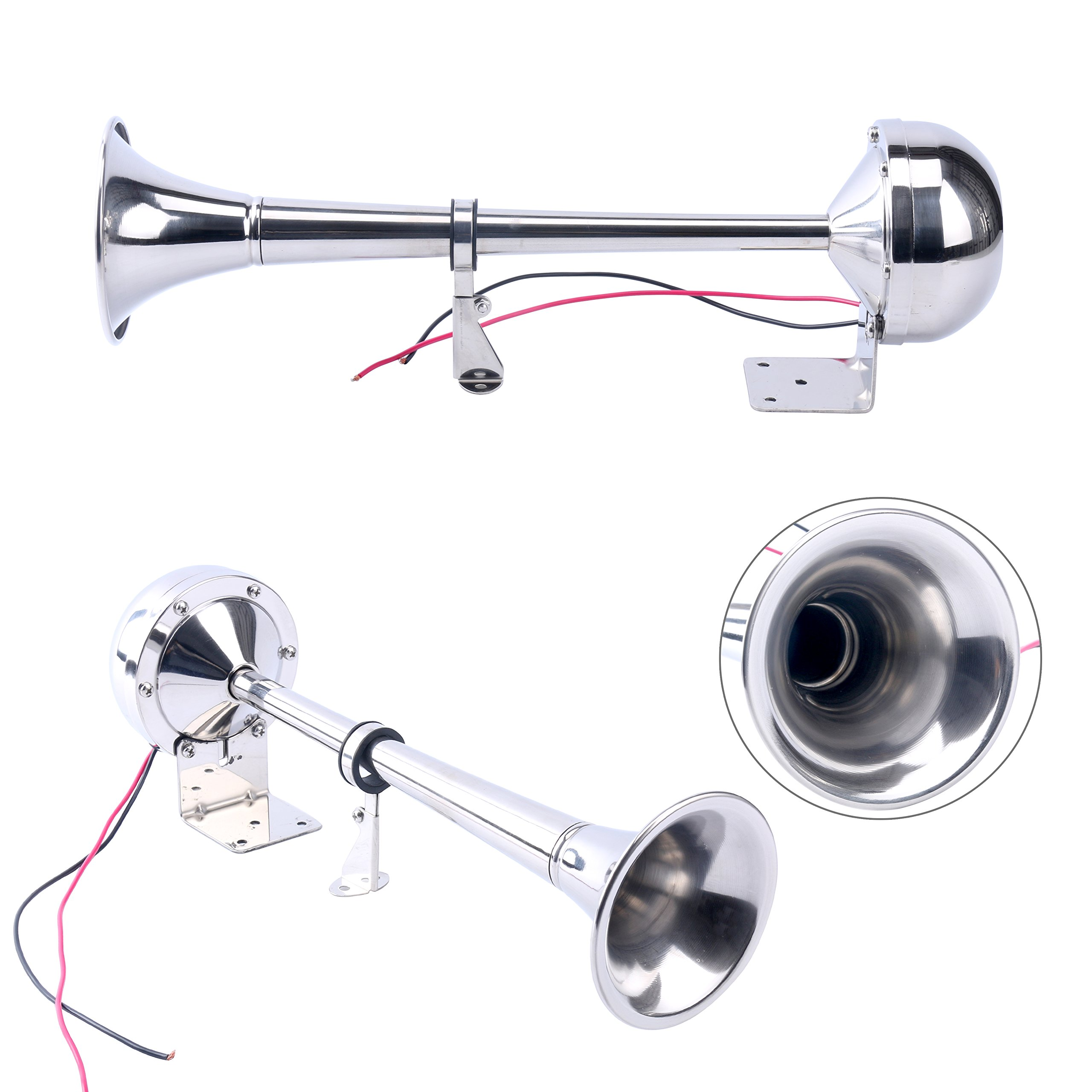 Amarine-made 12v Marine Boat Stainless Steel Single Trumpet Horn, Low Tone, 16-1/8''