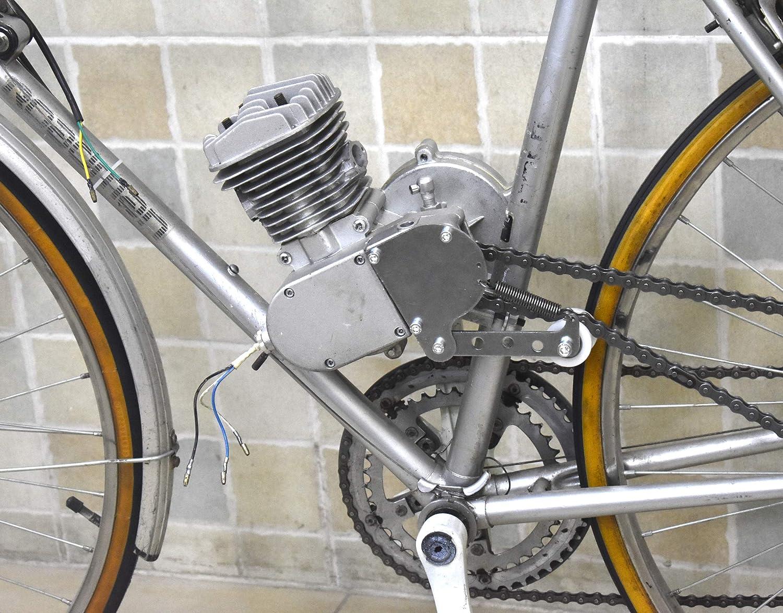 HGC Silver Exhaust Pipe Muffler Chain Tensioner 48cc 66cc 70cc 80cc Motorized Bike