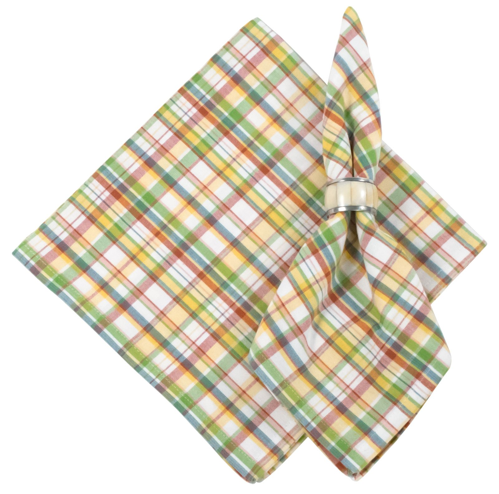 100% Cottom Coral Green & Yellow Plaid 22''x22'' Napkin, Set of 6 - Haystack