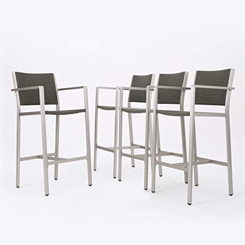 Christopher Knight Home Cape Coral Outdoor Wicker Bar Stools, 4-Pcs Set, Grey