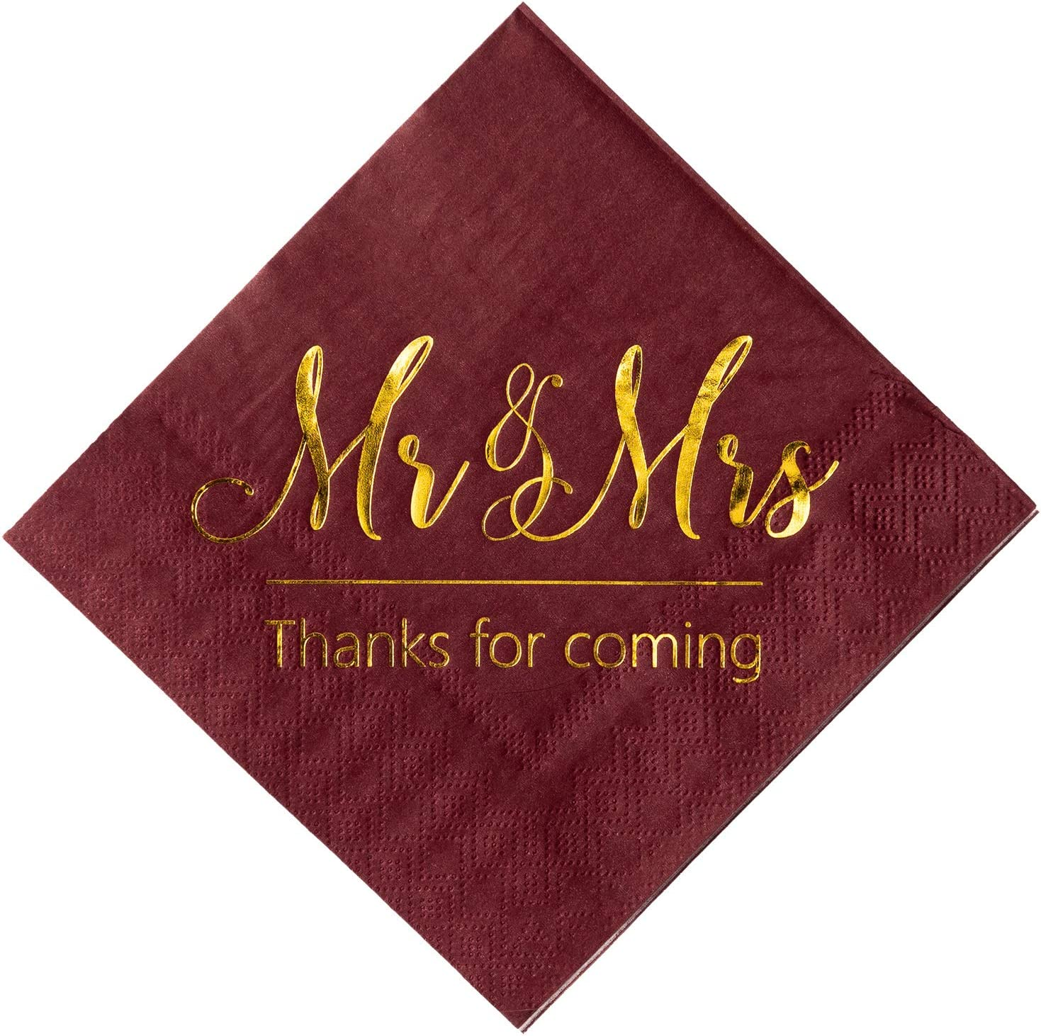Crisky Wedding Napkins Mr Mrs Burgundy Gold Cocktail Beverage Dessert  Napkins for Wedding Shower Engagement Party Decorations, 8 Pcs, 8-Ply
