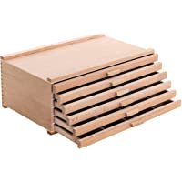 U.S. Art Supply 6 Drawer Wood Artist Supply Storage Box - Pastels, Pencils, Pens, Markers, Brushes