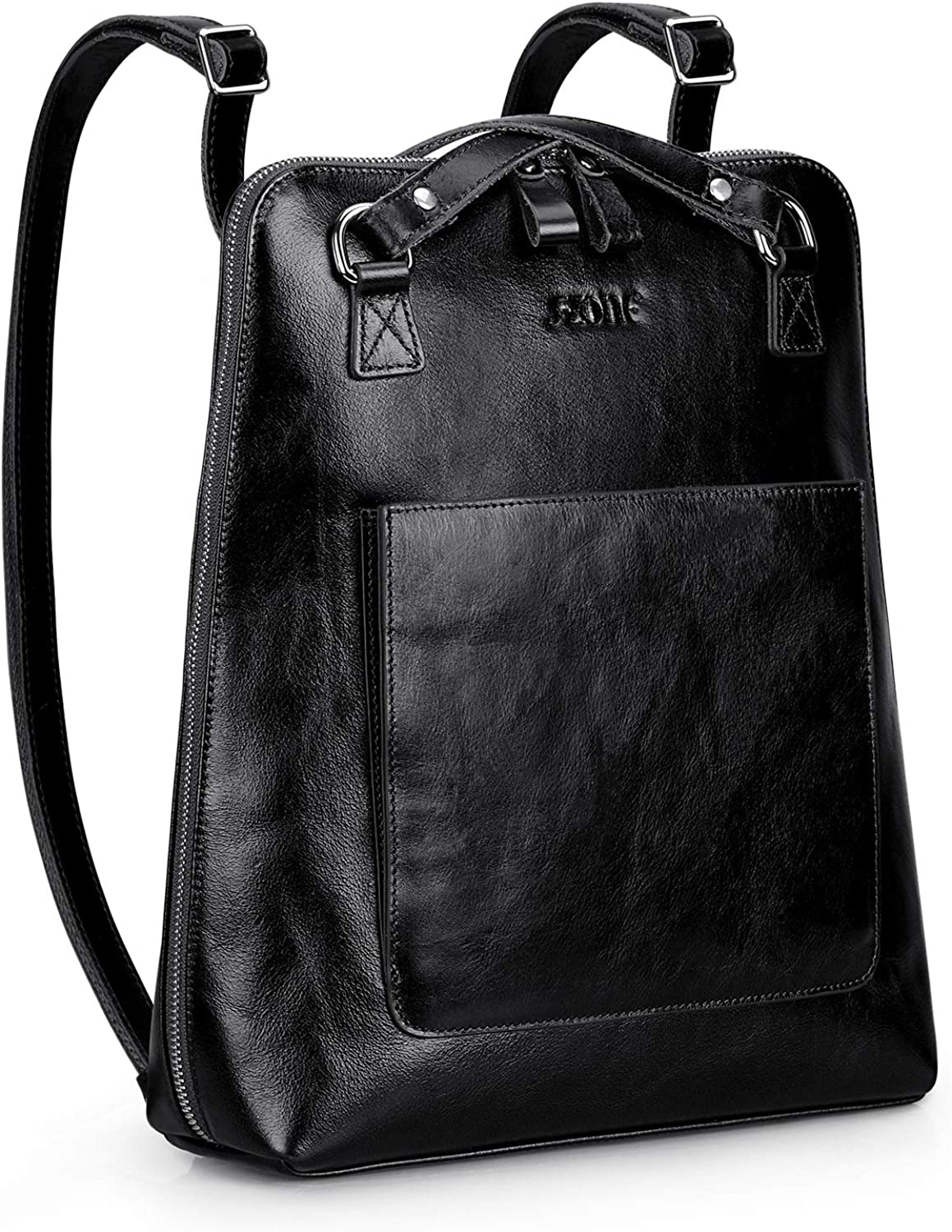 Leather Backpack in Black Color Veggie Tanned Leather Backpack double division