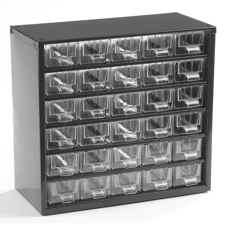 Schubladenmagazin mit 30 Schubladen-Klarsichtmagazin mit glasklaren Schubladen- Gehäuse aus Stahlblech in tiefschwarz Certeo