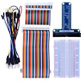 Kuman RPi GPIO Breakout Expansion Kit For Raspberry PI with 3.5 Inch LCD Screen , T-type expansion board + 400 points Tie Points Solderless Breadboard + 40 pin IDE male - female - male extension Cable + 35pcs Jump wires K80