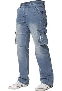 Crosshatch Men/'s Regular Straight Leg Combat Cargo Denim Jeans 28-48 Waist