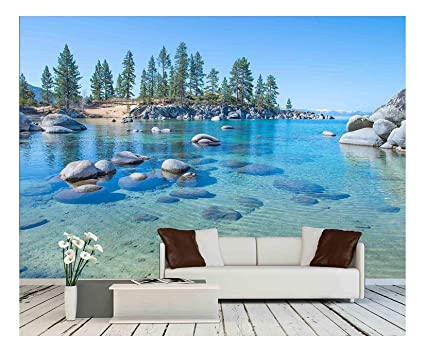 Wall26 Beautiful Blue Clear Water On The Shore Of The Lake Tahoe Removable Wall Mural Self Adhesive Large Wallpaper 66x96 Inches