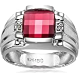 Men's Sterling Silver Created Ruby Ring with Diamond Accent Ring