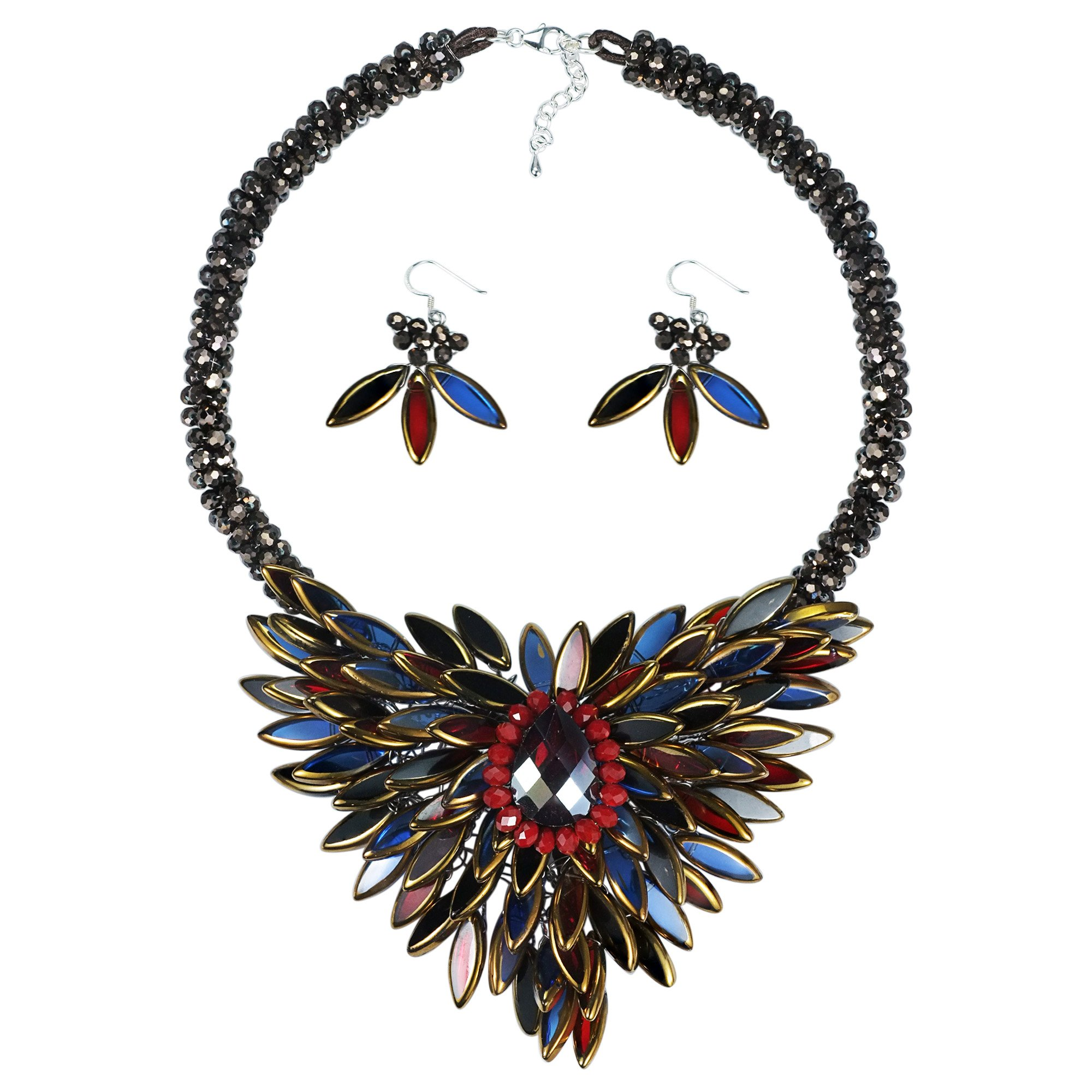 Baroque Hidden Floral Multicolor Glass Necklace and Earring Jewelry Set by AeraVida