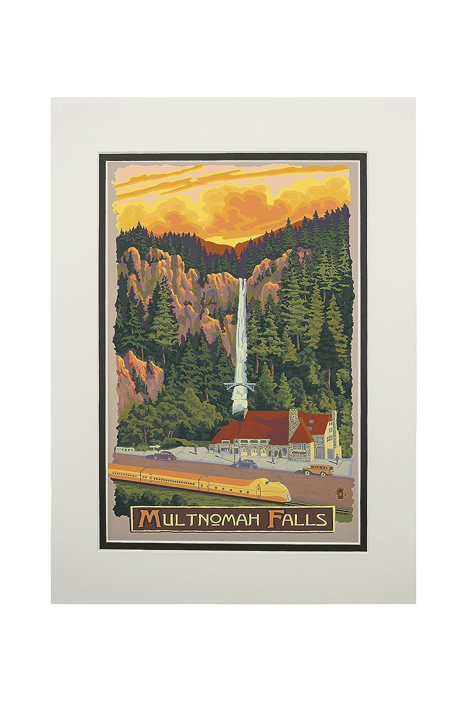 正規品! Multnomah Falls Print View With Print Train 10 x 15 Art Wood Sign LANT-31177-10x15W B06XZYSKM6 11 x 14 Matted Art Print 11 x 14 Matted Art Print, グラスアート屋:ea45f0c7 --- arianechie.dominiotemporario.com