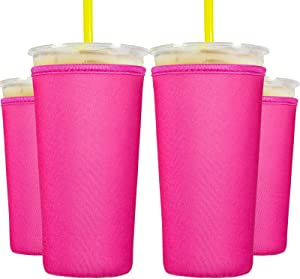 8 Pieces Reusable Coffee Cup Sleeve Neoprene Cup Cover Drink Insulator Sleeves 2 Sizes Insulated Sleeves Drinks Holder for 22 oz to 32 oz Cold Hot Drink Beverages Cup Bottle (Pink)