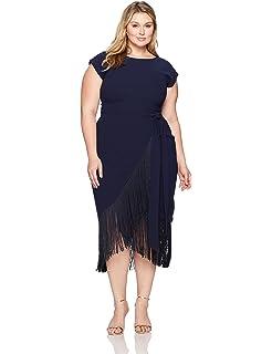 065f9d16ac9 RACHEL Rachel Roy Women s Plus Size Short Sleeve Fringe Midi Wrap Dress