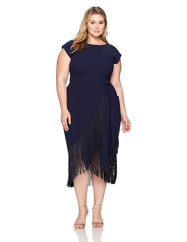 c088348413e RACHEL Rachel Roy Women s Plus Size Short Sleeve Fringe Midi Wrap Dress at  Amazon Women s Clothing store