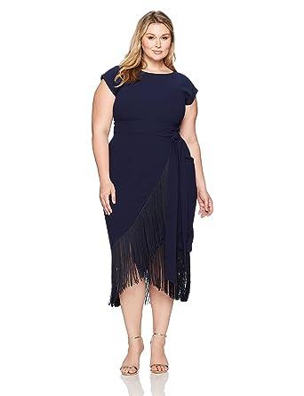 1f37244789d2 RACHEL Rachel Roy Women s Plus Size Short Sleeve Fringe Midi Wrap Dress at Amazon  Women s Clothing store