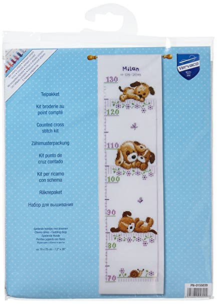 Playing Dogs Growth Chart On Aida Counted Cross Stitch Kit 72x28